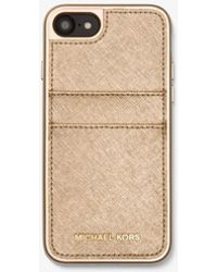 Michael Kors - Metallic Saffiano Leather Case For Iphone 7/8 - Lyst