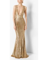 Michael Kors - Sequined Deep-v-neck Gown - Lyst