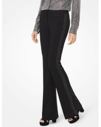 Michael Kors - Embellished Stretch-twill Flared Trousers - Lyst