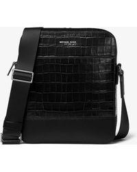 Michael Kors - Harrison Crocodile-embossed Leather Flight Bag - Lyst