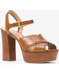 66d66b353ab8 Lyst - Michael Kors Divia Snake-embossed Leather Platform Sandal in ...