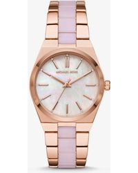 ad5cd806eb67 Michael Kors Audrina Burgundy Acetate And Rose Gold-tone Watch in ...
