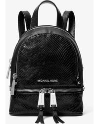 Michael Kors - Rhea Mini Python-embossed Leather Backpack - Lyst