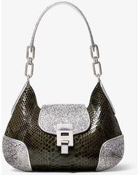 Michael Kors Bancroft Medium Python And Glitter Shoulder Bag - Multicolour