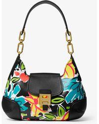a7b258ec39e42 Michael Kors - Bancroft Medium Floral Calf Leather Shoulder Bag - Lyst