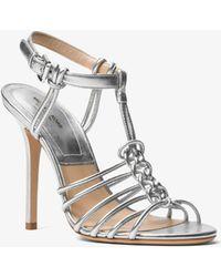 Michael Kors - Alek Metallic Leather Sandal - Lyst