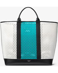 Michael Kors - Georgica Oversized Color-block Perforated Leather Tote - Lyst