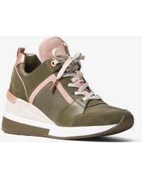 a3d58a9aa592 Lyst - Michael Kors Boerum Logo Leather-trimmed Sneaker in Brown