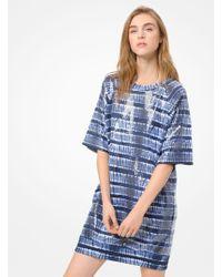 4b4b20474d408e Michael Kors Leopard-print Cotton-blend Sweater Dress in Black - Lyst