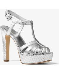 Michael Kors - Catalina Metallic Embossed-leather Sandal - Lyst