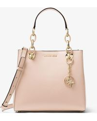 154a773d10fc Lyst - Michael Kors Cynthia Small Saffiano Leather Satchel in Gray