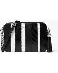 48dacabac751 MICHAEL Michael Kors - Ginny Medium Striped Leather Crossbody Bag - Lyst