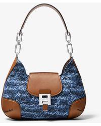 Michael Kors Bancroft Medium Signature Print Denim Shoulder Bag - Blue