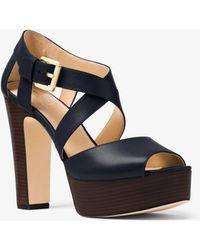Michael Kors - Jodi Leather Platform Sandal - Lyst