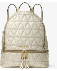Michael Kors - Rhea Medium Metallic Quilted-leather Backpack - Lyst