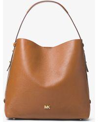 e486f9f75ffbf3 Michael Kors Griffin Large Logo Jacquard Shoulder Bag - Lyst