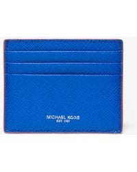 6bc4ef4742f0 Michael Kors - Harrison Tall Contrast-trim Crossgrain Leather Card Case -  Lyst