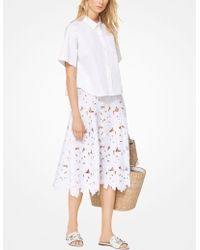Michael Kors - Cotton-poplin Cropped Shirt - Lyst