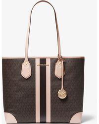 038318bd859f4a MICHAEL Michael Kors - Eva Large Logo Stripe Tote Bag - Lyst