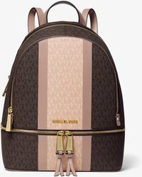 Michael Kors - Rhea Medium Striped Logo And Leather Backpack - Lyst