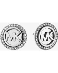 Michael Kors - Logo Button Silver-tone Earrings - Lyst