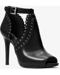 Michael Kors - Jessie Leather Open-toe Bootie - Lyst