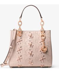 Michael Kors - Cynthia Small Floral Embroidered Leather Satchel - Lyst