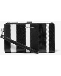 MICHAEL Michael Kors - Adele Striped Leather Smartphone Wallet - Lyst