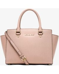 c463bbd7f841 Michael Kors Michael Large Selma Studded Saffiano Tote in Brown - Lyst