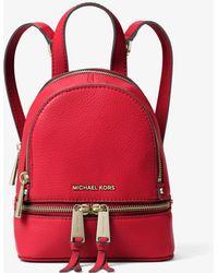 73e495c3c0e2 Lyst - MICHAEL Michael Kors Rhea Zip Medium Backpack in Red