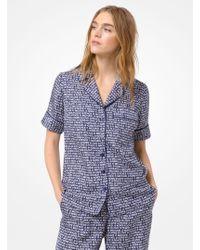 Michael Kors - Camicia pigiama in seta con stampa - Lyst
