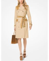 Michael Kors - Stretch Cotton And Suede Trench Coat - Lyst