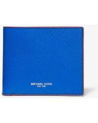 2321c7930e90 Michael Kors - Harrison Color-block Crossgrain Leather Billfold Wallet -  Lyst