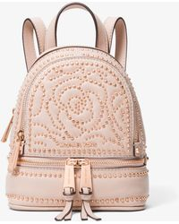 Michael Kors - Rhea Mini Rose Studded Leather Backpack - Lyst