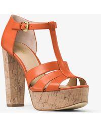 Michael Kors - Mercer Cork Platform Leather Sandal - Lyst