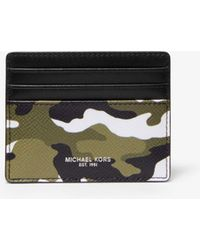 22ac741127d4 Lyst - Michael Kors Shadow-print Faux-leather Clip Card Case in ...