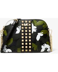 80111e23aae5 Michael Kors - Large Butterfly Camo Leather Dome Crossbody - Lyst