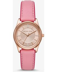 Michael Kors - Colette Rose Gold-tone And Leather Watch - Lyst