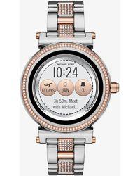 f54941b1919d Lyst - Michael Kors Sofie Pave Silver-tone Smartwatch in Metallic