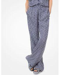 Michael Kors - Pantalón de pijama de sarga de seda con estampado - Lyst