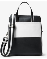 Michael Kors - Nikki Striped Calf Leather Tote - Lyst