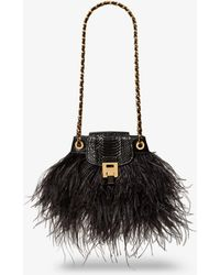 Michael Kors - Bancroft Feather And Snakeskin Disco Pouch - Lyst