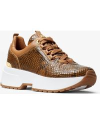 Michael Kors - Cosmo Snake-embossed Leather Trainer - Lyst