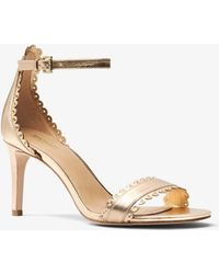 Michael Kors - Jessie Metallic Leather Sandal - Lyst