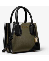 8201cc009bdd9c Michael Kors - Mercer Tri-color Pebbled Leather Accordion Crossbody Bag -  Lyst