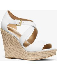 a0037f35d00 Michael Kors Jodi Leather Espadrille Wedge in White - Lyst
