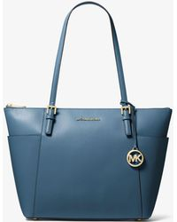 Lyst - Michael Kors Jet Set Travel Large Saffiano Leather Top-zip Tote 7889222c4bc84