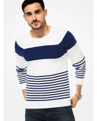 Michael Kors - Striped Cotton Ribbed Pullover - Lyst