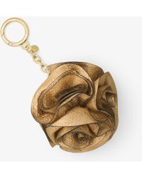 Michael Kors - Origami Rose Metallic Leather Key Chain - Lyst