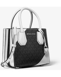 826ac159a28dfc Michael Kors - Mercer Two-tone Logo And Leather Accordion Crossbody - Lyst